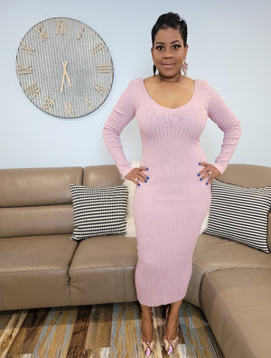 Pink Ribbed Midie Dress