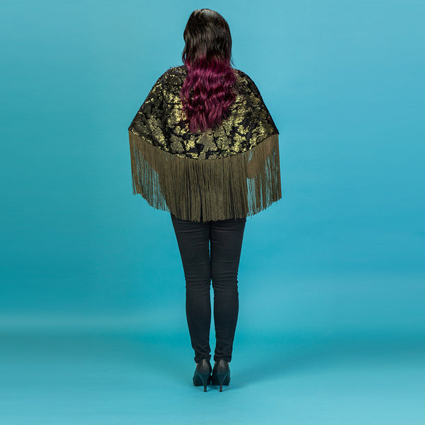 Traffic People Fringe Cape Jacket