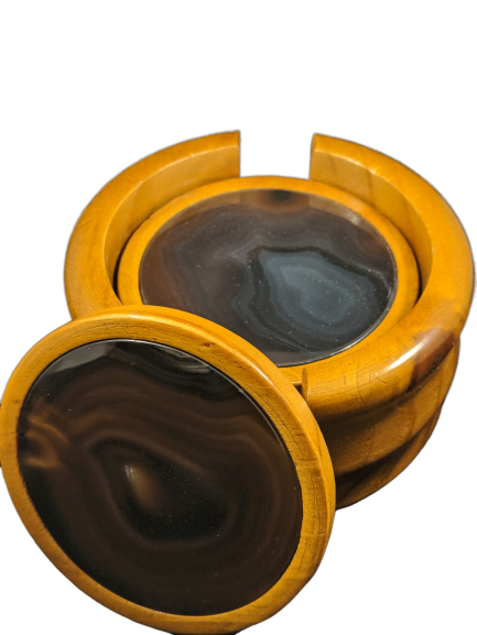 Wooden Black Agate Coaster Set