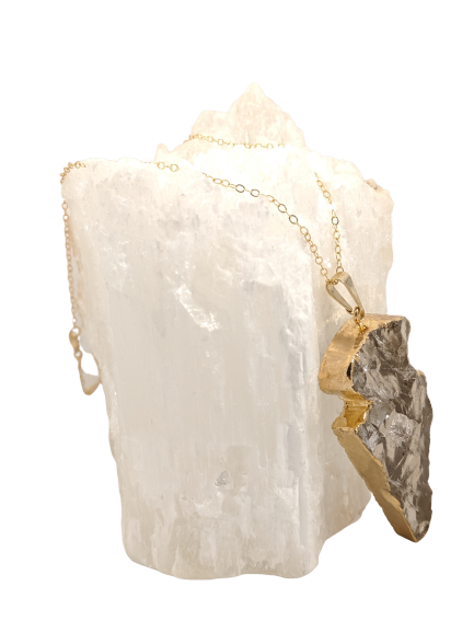 Gold Plated Quartz Arrowhead
