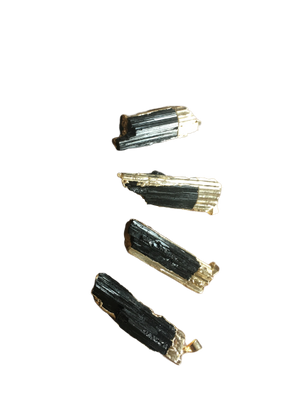 Black Tourmaline Gold Striped Pendant
