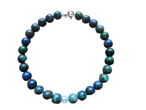 Azurite and Crackled Quartz Bracelet
