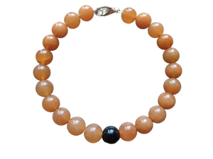 Peach Aventurine and Green Goldstone Bracelet