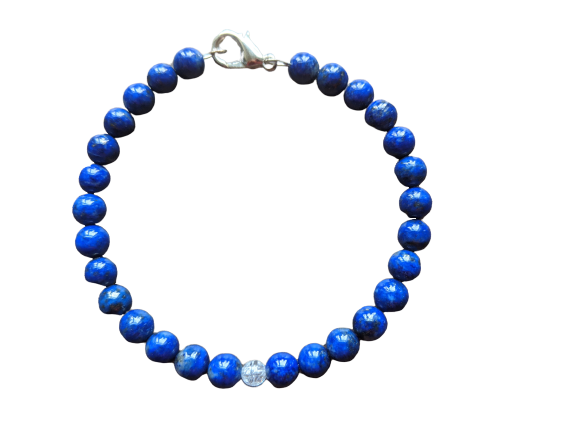 Lapis Lazuli and Crackled Quartz Bracelet