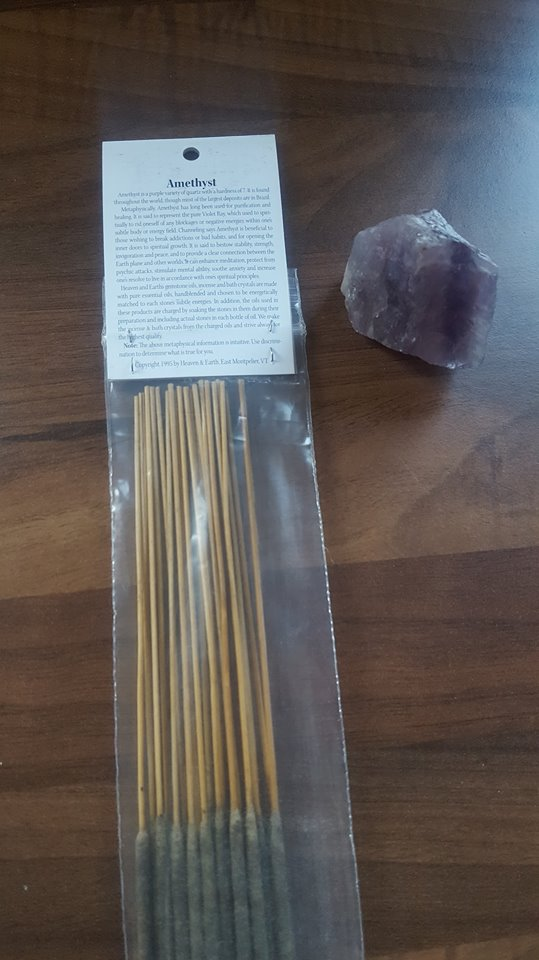 Amethyst Crystal Incense Sticks and crystal (pack of 20)