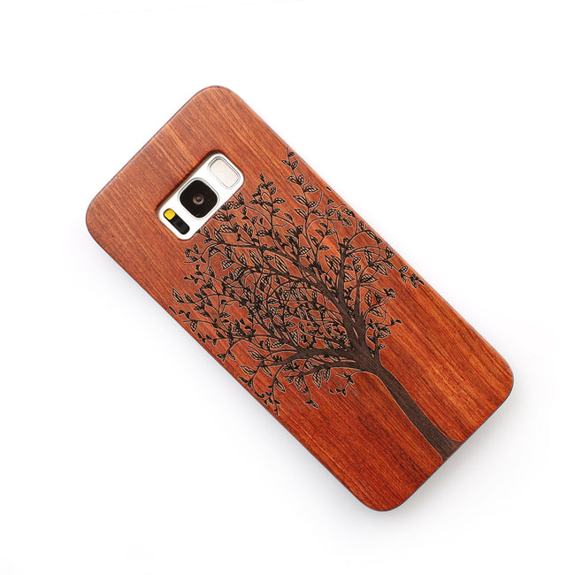 Retro Engraved Wood Phone Case For Samsung Galaxy S6/S6 Edge, S7/S7 Edge, S8/S8 Plus - We Wood Wear