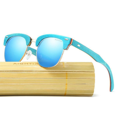 Recycled Skateboard Retro Sunglasses - Blue - We Wood Wear