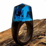 Handmade Wood Resin Ring - Icy Mountain - We Wood Wear