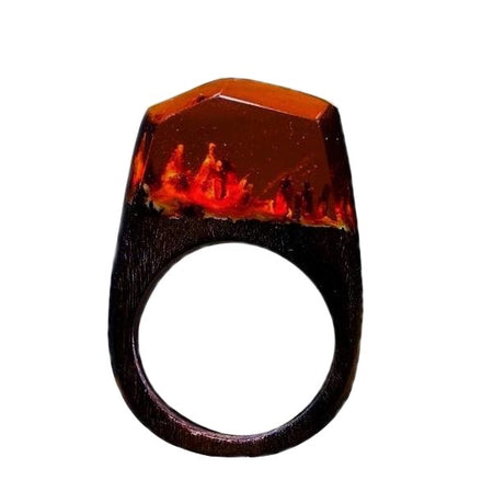 Handmade Wood Resin Ring - Icy Mountain