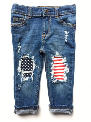 Let Freedom Ring Skinnies- 4th of july- Memorial Day- distressed denim- baby-kids