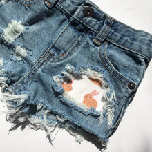 Hunny Bunny shorts- easter- spring- rabbit- distressed denim