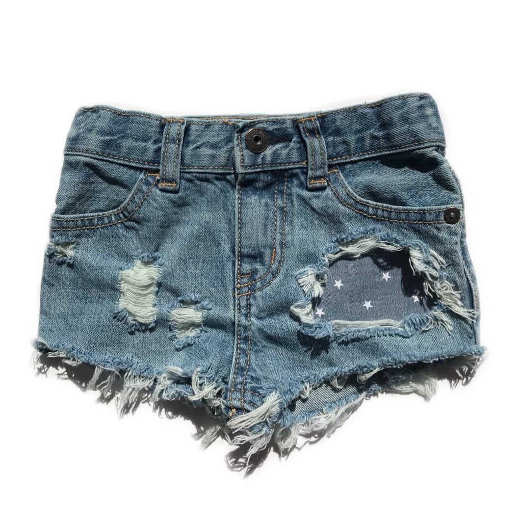 Chambray stars shorts- fouth of july- summer- stars- distressed denim