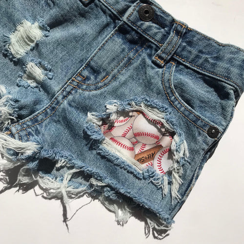 Baseball shorts- spring- summer- sports- distressed denim