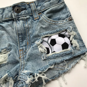 Soccer shorts- spring- summer- sports- distressed denim