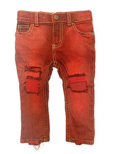 Basic Babe Skinnies- RED- distressed denim- unisex jeans- baby jeans- toddler jeans