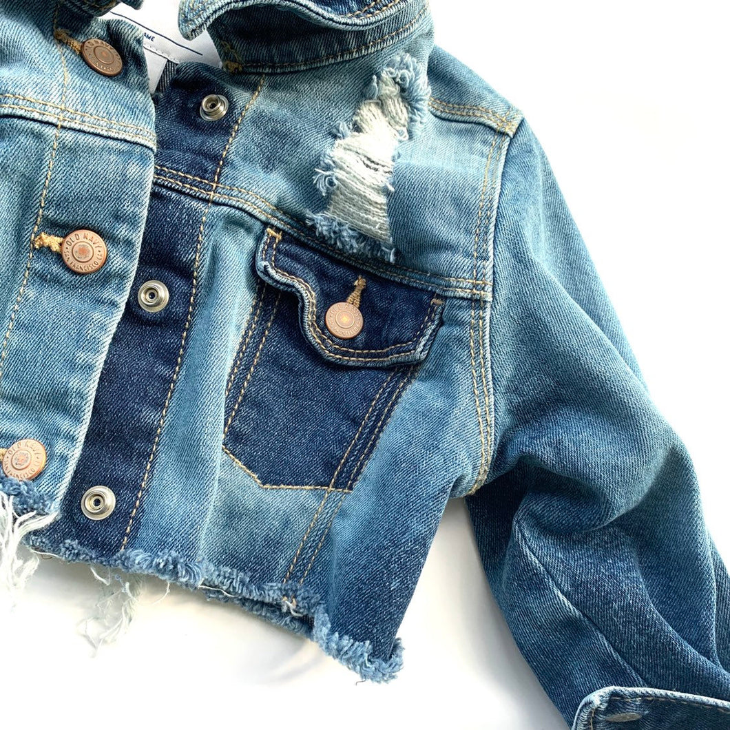 Color block croped denim jacket