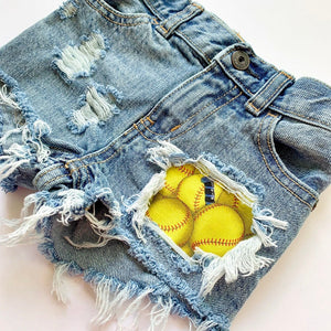 Softball shorts- spring- summer- sports- distressed denim