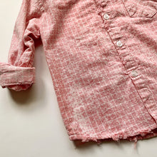 Pink Acidwashed Windowpane Plaid Button Up