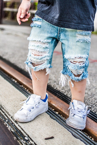 Riptide Shorts- distressed denim- unisex- baby- toddler