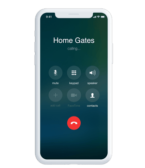 Phone making a call to home gates