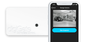 digiGate Garage system with camera and app screen