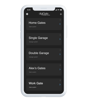 digiGate app screen with multiple devices