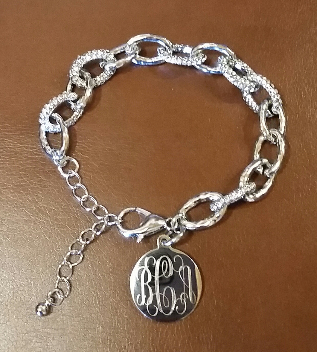 Stylish Silver with Crystals Link Bracelet Blank or Monogram Engraved