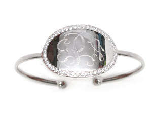 Monogram Oval Silver Bangle Bracelet Blank or Engraved
