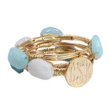 Cotton White, Sky Blue, and Aqua Blue Bead Bracelet with Blank or Monogram Engraved Gold Disk