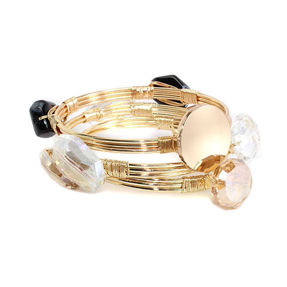 Clear Crystal and Black Stone Bead Bracelet with Blank or Monogram Engraved Gold Disk