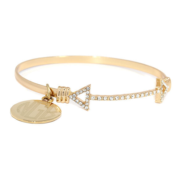 Golden Arrow with CZ Crystals Bangle Bracelet Blank or Monogram Engraved
