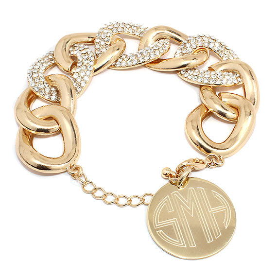 STUNNING Gold Link Bracelet with CZ Stones Blank or Monogram Engraved