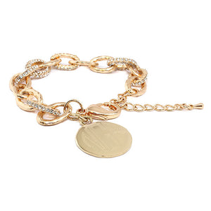 Stylish Gold with Crystals Link Bracelet Blank or Monogram Engraved