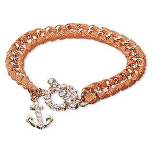 Anchor Glass Rhinestone Bracelet