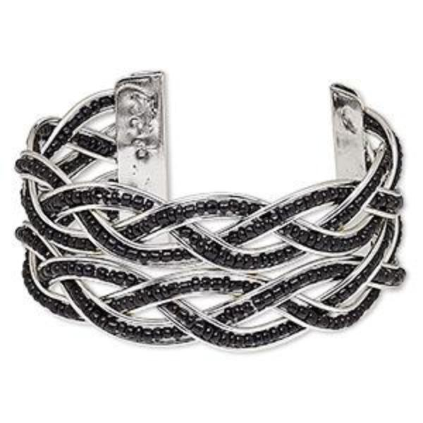 Black Braided Cuff Bracelet