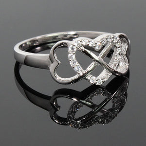 Sterling Silver Triple Heart Infinity Ring with CZ stones