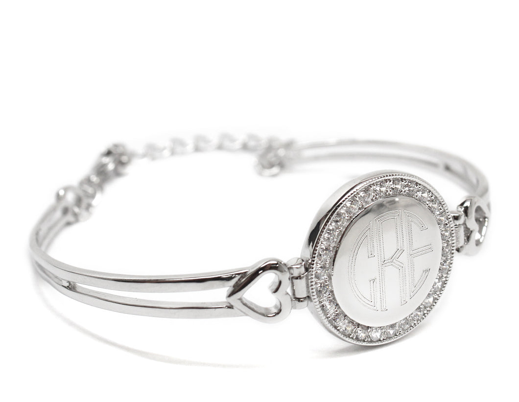 Monogram Silver Bracelet with Crystals and Hearts - Blank or Engraved