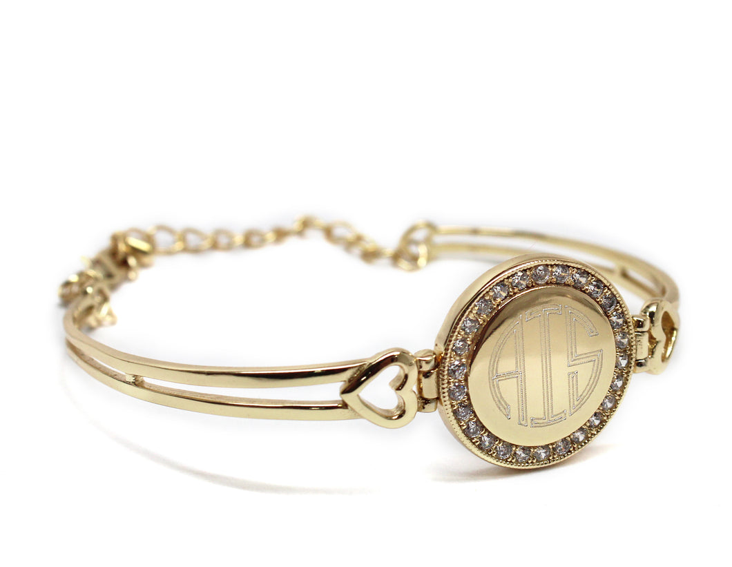 Monogram Gold Bracelet with Hearts and Crystals - Blank or Engraved