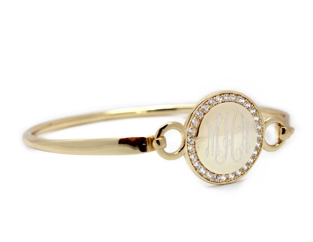 Blank or Monogram Gold Circle Bangle Bracelet