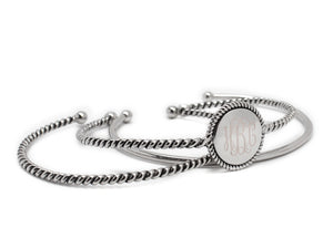 Blank or Monogram Silver Braided Rope Bangle Triple Set Bracelets
