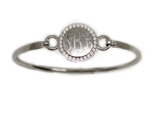 Blank or Monogram Silver Circle Bangle Bracelet
