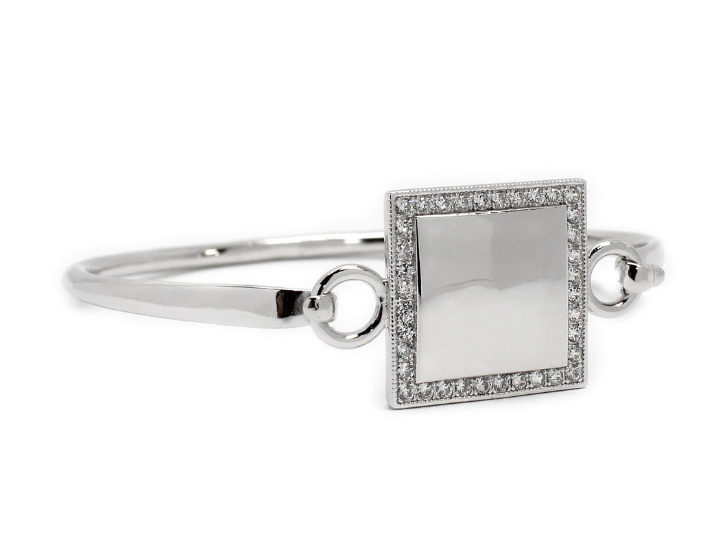Square Silver Bangle Bracelet Blank or Monogram Engraved