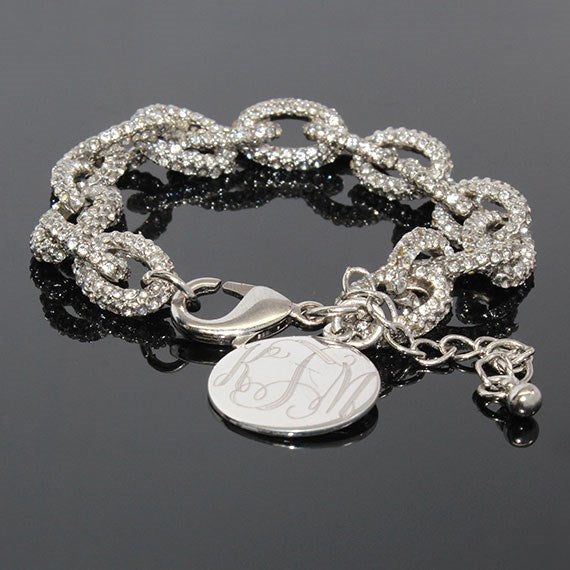 Silver and CZ Link Bracelet Blank or Monogram Engraved