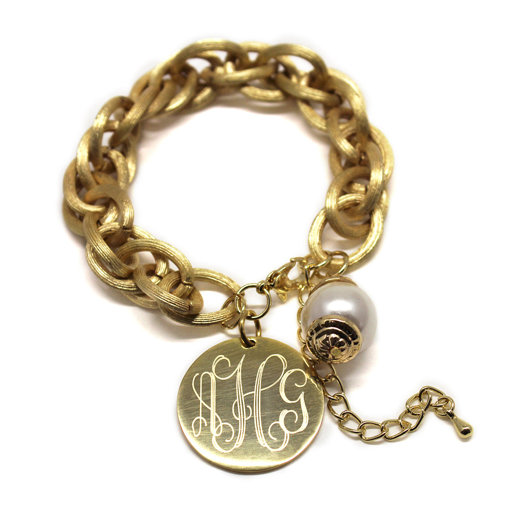 Satin Gold Link Bracelet with Drop Pearl Blank or Monogram Engraved