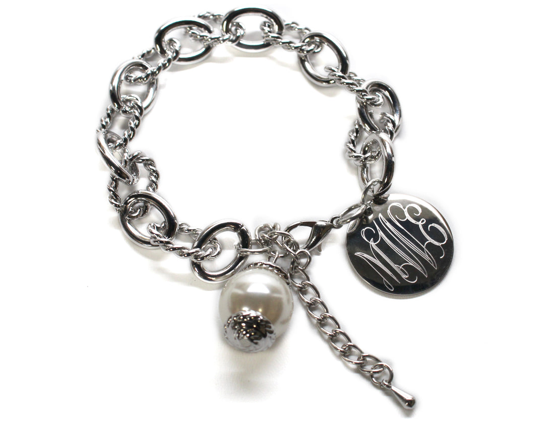 Silver Rope Link Bracelet with Drop Pearl Blank or Monogram Engraved