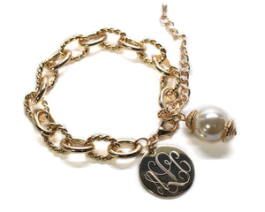 Gold Rope Link Bracelet with Drop Pearl Blank or Monogram Engraved