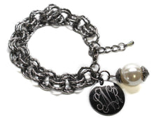 Antique Silver Link Bracelet with Drop Pearl Blank or Monogram Engraved