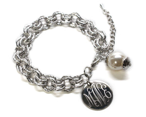 Blank or Monogram Engraved Silver Link Bracelet with Drop Pearl