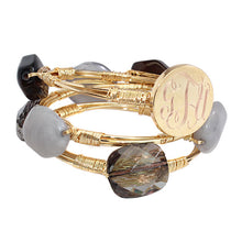 Smokey, Heather Gray, Black and Gray Marble Stone Bead Bracelet with Blank or Monogram Engraved Gold Disk
