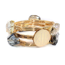 Clear and Colored Crystal Bead Bracelet with Blank or Monogram Engraved Gold Disk